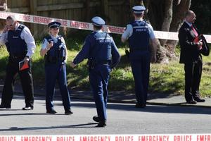 Wellington police at the scene where Dawood's wife died after being stabbed. Photo / Mark Mitchell