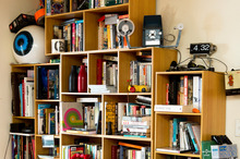 Bookshelf holding a collection of random things.  Photo / Babiche Martens