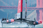 Emirates Team NZ's 72-foot catamaran Aotearoa came close to disaster yesterday during the first Louis Vuitton Cup final. Photo / Chris Cameron.
