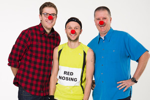 Comedians Guy Williams, Jono Pryor and Paul Ego show their support for Red Nose Day