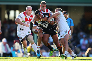 Tigers prop Ava Seumanufagai takes on the Dragons defence. Photo / Getty Images