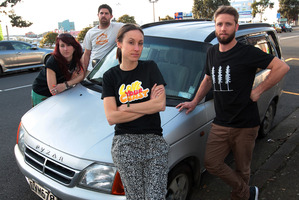 Jo Taylor (left), Ryley Webster, Natalia Bogle and Chris Cochrane of Sustainable Coastlines want their truck Black Beauty back. Photo / Doug Sherring
