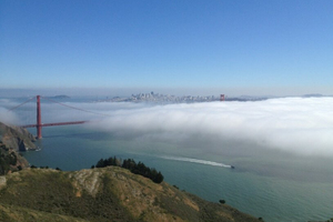 San Francisco in fog as published to the Karlthefog Instagram account.