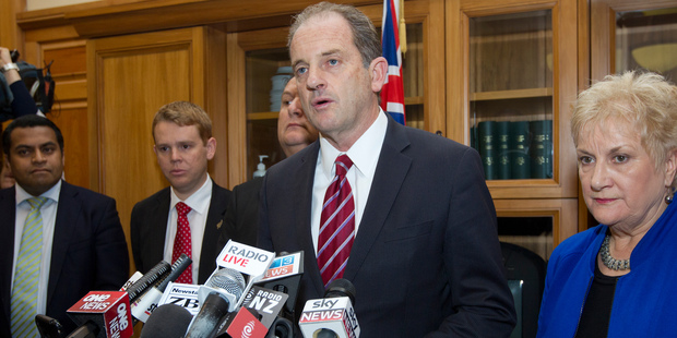 David Shearer, with Labour MPs (from left) Kris Faafoi, Chris Hipkins, Shane Jones and Annette King, makes his announcement that he is quitting as party leader. Photo / Mark Mitchell