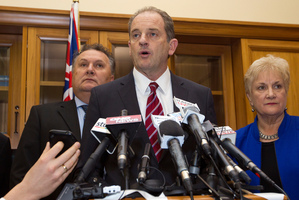 David Shearer announcing his resignation.  Photo / Mark Mitchell