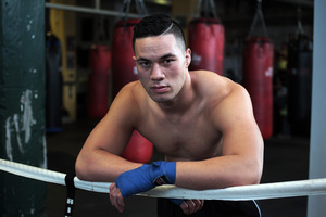 Joseph Parker takes a break while working out in Auckland. Photo / Doug Sherring