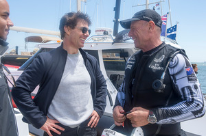 Tom Cruise talks with Grant Dalton after his recent ride aboard NZL5. Photo / Chris Cameron