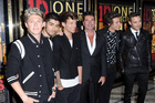 Niall Horan, Zayn Malik, Louis Tomlinson, Simon Cowell, Harry Styles and Liam Payne attend the UK Premiere of 'One Direction: This Is Us 3D'. Photo / AP