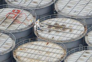 ITanks at Fukushima hold thousands of tonnes of contaminated water. Photo / AP