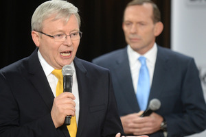 The verdict on the debate between Kevin Rudd and Tony Abbott was divided. Photo / AP