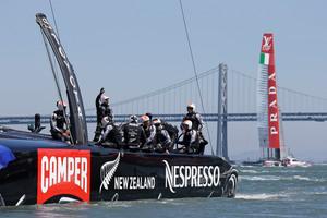 Crew members aboard Emirates Team New Zealand. Photo / AP