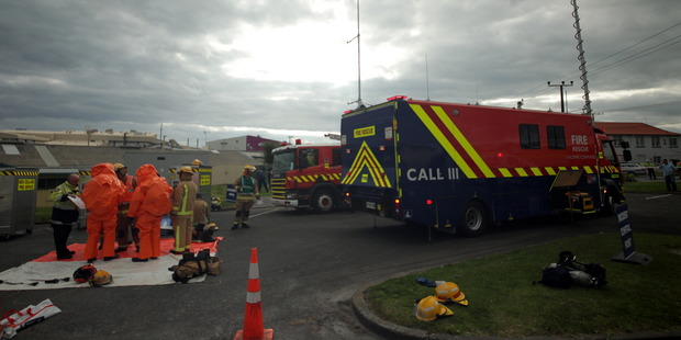 Hazmat callout at Tasman Tanning. Photo / Stuart Munro