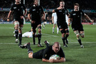 The big one... scoring the All Blacks' only try during the World Cup final against France at Eden Park. Photo / Brett Phibbs