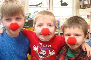 Weston Playcentre pupils Reuben Francis, Jack Hacquoil and Donny Houghton put on their Red Nose's in support of the appeal that raises money for Cure Kids. Photo / Jessie Waite