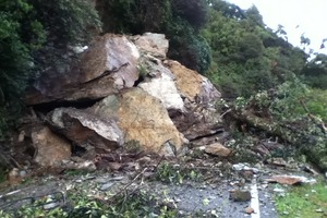 The rockfall on on State Highway 6 on the West Coast. Photo / NZTA