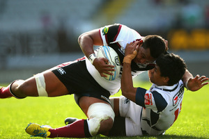Viliami Fihaki of North Harbour is tackled by Auckland's Tenina Sauileoge. Photo / Getty Images