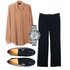 Mix it up with pieces that blend boy meets girl style. Sherie Muijs silk shirt $325. Country Road pants $199. Isabel Marant flats, $820, from Fabric. Versus Versace watch, $559, from Walker and Hall