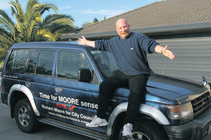 Papamoa council candidate Richard Moore has been driving around in his election signwritten car for three years without drawing a  comment from the council. PHOTO/SUPPLIED