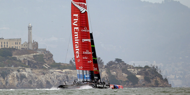 Loading Emirates Team New Zealand had to retire from race two. Photo / AP