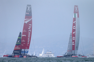 The America's Cup Pavilion is on one side of Piers 27 and 29 on San Francisco's waterfront, with the harbour and a view of the giant AC72s' start and finish on the other.  Photo / Getty Images