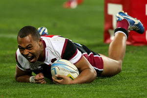 Tevita Li of North Harbour scores a try during the ITM Cup match between Wellington and North Harbour at Westpac Stadium. Photo / Getty Images