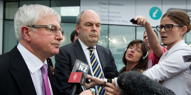 Cabinet ministers Tim Groser and Steven Joyce appeared grim-faced before the media, fearing the worst. Photo / Richard Robinson