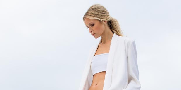 Model Kelvin from Clyne Model Management wears a Georgia Alice jacket, $579, and Zambesi bandeau top $130. Photo / Babiche Martens