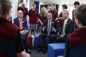 SERIOUS TALK: Tony Ryall, John Key and Todd McClay answer the hard questions from pupils at Te Puke Intermediate during a visit to the school yesterday.PHOTOS/ANDREW WARNER 300813AW13BOP