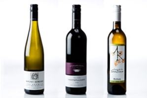 Left to right: Mount Edward The Drumlin Central Otago Riesling 2012, Kahurangi Estate Nelson Montepulciano 2012 and Lagar de La Santina Rias Baixas Albarino, Spain 2011.