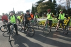 ON YER BIKE: Delegates at Wairarapa's Tourist Export Council Conference last week take a familiarisation tour of Masterton, ably assisted by Rob King, second from right, of the Green Jersey Cycle Company.PHOTO/LYNDA FERINGA
