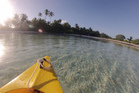 Having a paddle in the Cocos Keeling islands. Photo / Supplied