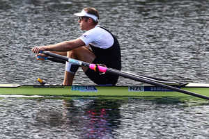 Mahe Drysdale has withdrawn from the men's single scull C/D semi-finals at the rowing world championships in Chungju, South Korea due to his rib injury. Photo / Getty Images.