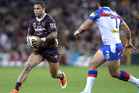 osh Hoffman of the Broncos looks to take on the defence during the round 25 NRL match between the Brisbane Broncos and the Newcastle Knights. Photo / Getty Images.