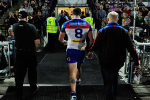Kade Snowden of the Knights walks from the field after being sent off during the round 24 NRL match between the North Queensland Cowboys and the Newcastle Knights. Photo / Getty Images.