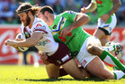 David Williams of the Eagles is tackled during the round 24 NRL match between the Canberra Raiders and the Manly Sea Eagles. Photo / Getty Images.