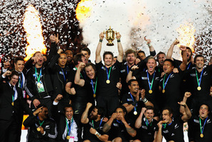 The start of the new renaissance as Richie McCaw and the All Blacks celebrate World Cup victory in October 2011. Photo / Brett Phibbs