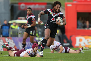 Manu Vatuvei in typical rampaging style against Manly. Photo / Getty Images