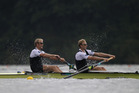 Eric Murray and Hamish Bond provided the highlight for New Zealand at the World Rowing Championships yesterday. Photo / Getty Images