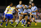 Jayson Bukuya of the Sharks is tackled during the round 14 NRL match between the Cronulla Sharks and the Parramatta Eels. Photo / Getty Images