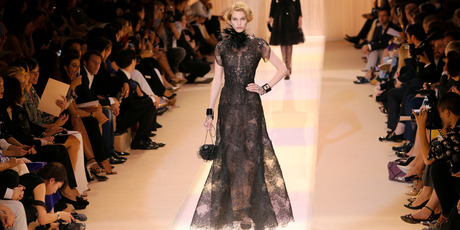 A model wears a creation as part of Giorgio Armani Prive's Haute Couture Fall-Winter 2013-2014 collection. Photo / AP
