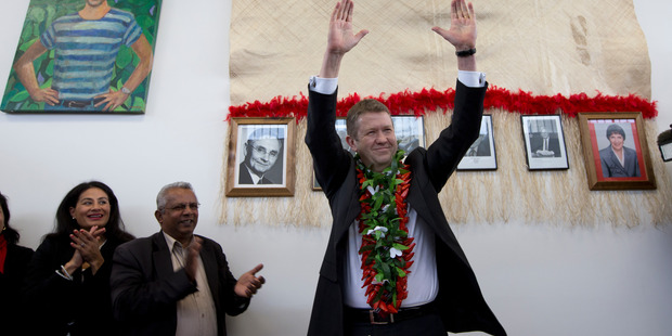 David Cunliffe announces his leadership bid from his New Lynn electorate HQ yesterday. Photo / Brett Phibbs