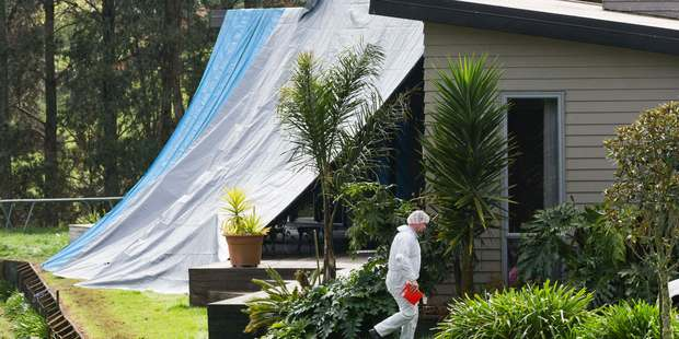 Police investigate the a property on Ponga Road, Papakura after the grim discovery of two dead bodies. Photo / Greg Bowker
