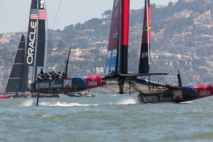 Emirates Team NZ and Oracle Team USA. Photo / Gilles Martin-Raget
