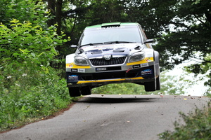 Hayden Paddon and John Kennard in action on the final day of ADAC Rallye Deutschland . Photo / Honza Fronek.