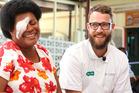 Daniel Vettori visits Vaseva Naloto who has had a cataract removed.