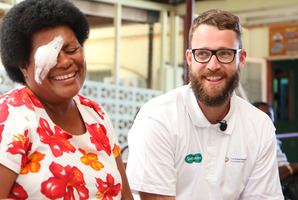 Daniel Vettori visits Vaseva Naloto who has had a cataract removed.