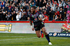 Manu Vatuvei scores a try against the Raiders. Photo / Richard Robinson.