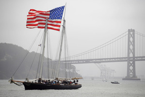 The America is a replica of the original schooner that trounced the British in 1851. Photo / AP
