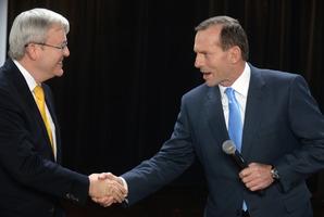Australian Prime Minister Kevin Rudd, left and the leader of the opposition Tony Abbott. Photo / AP