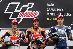 Current Honda MotoGP riders Marc Marquez (center) and  Dani Pedrosa(left). Photo / AP